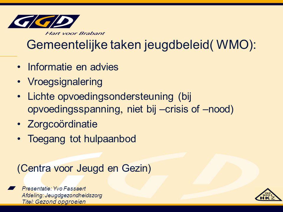 Gemeentelijke taken jeugdbeleid( WMO):