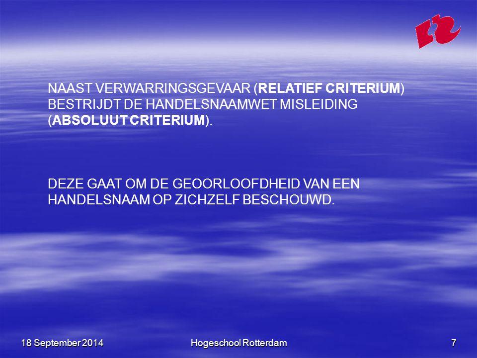 NAAST VERWARRINGSGEVAAR (RELATIEF CRITERIUM) BESTRIJDT DE HANDELSNAAMWET MISLEIDING (ABSOLUUT CRITERIUM).