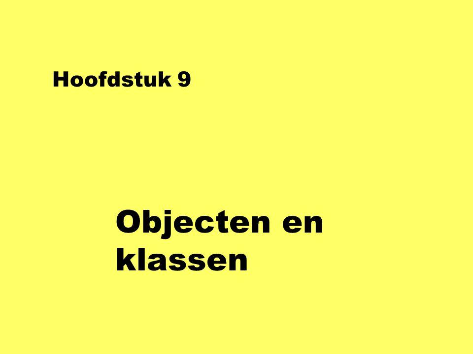 Hoofdstuk 9 Objecten en klassen