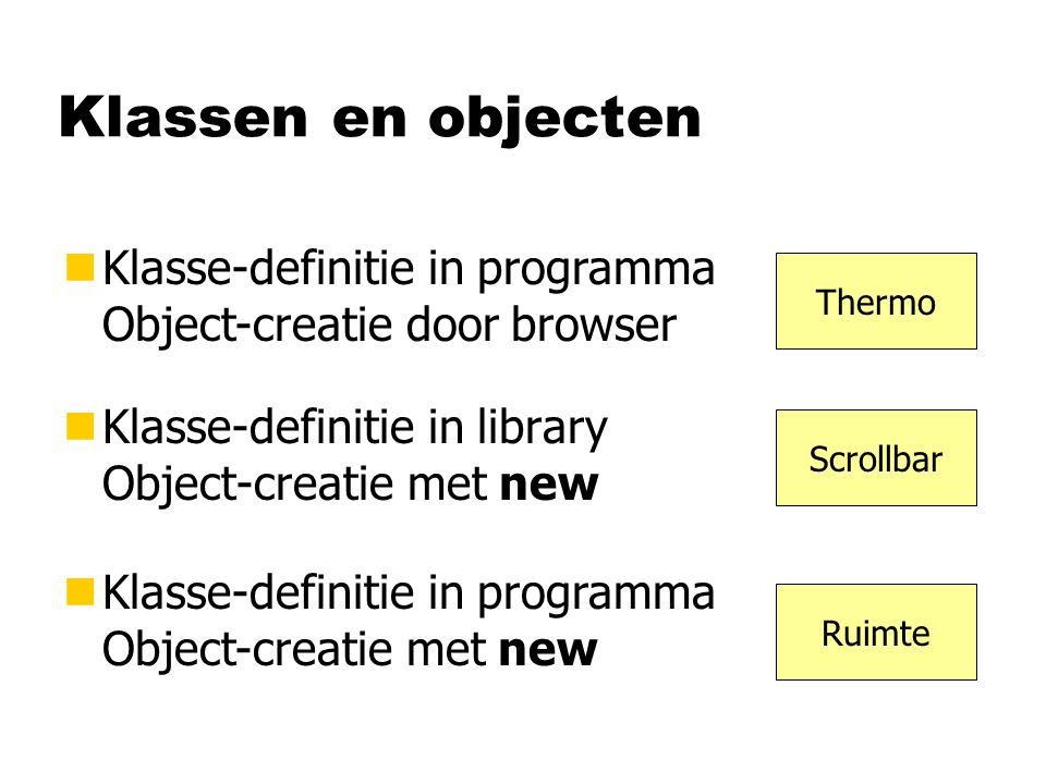 Klassen en objecten Klasse-definitie in programma Object-creatie door browser. Thermo. Klasse-definitie in library Object-creatie met new.