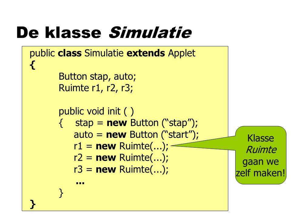 De klasse Simulatie public class Simulatie extends Applet {