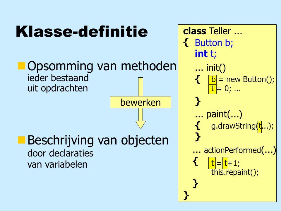 Klasse-definitie Opsomming van methoden ieder bestaand uit opdrachten