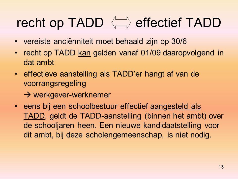 recht op TADD effectief TADD