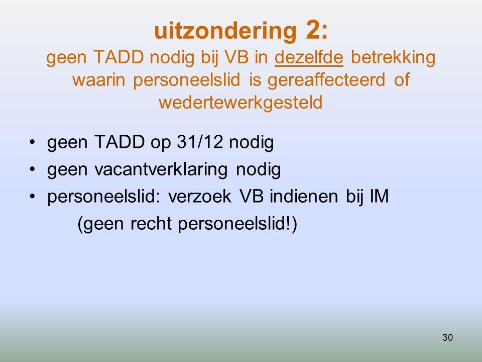 uitzondering 2: geen TADD nodig bij VB in dezelfde betrekking waarin personeelslid is gereaffecteerd of wedertewerkgesteld