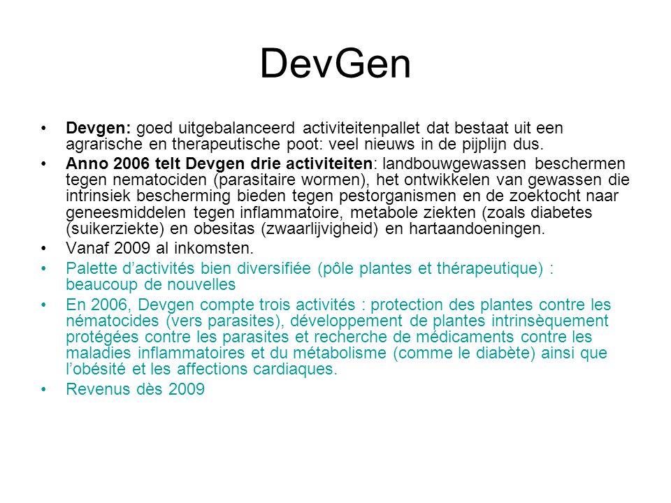 DevGen Devgen: goed uitgebalanceerd activiteitenpallet dat bestaat uit een agrarische en therapeutische poot: veel nieuws in de pijplijn dus.