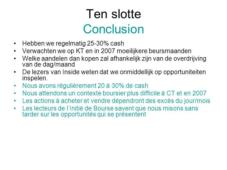 Ten slotte Conclusion Hebben we regelmatig 25-30% cash