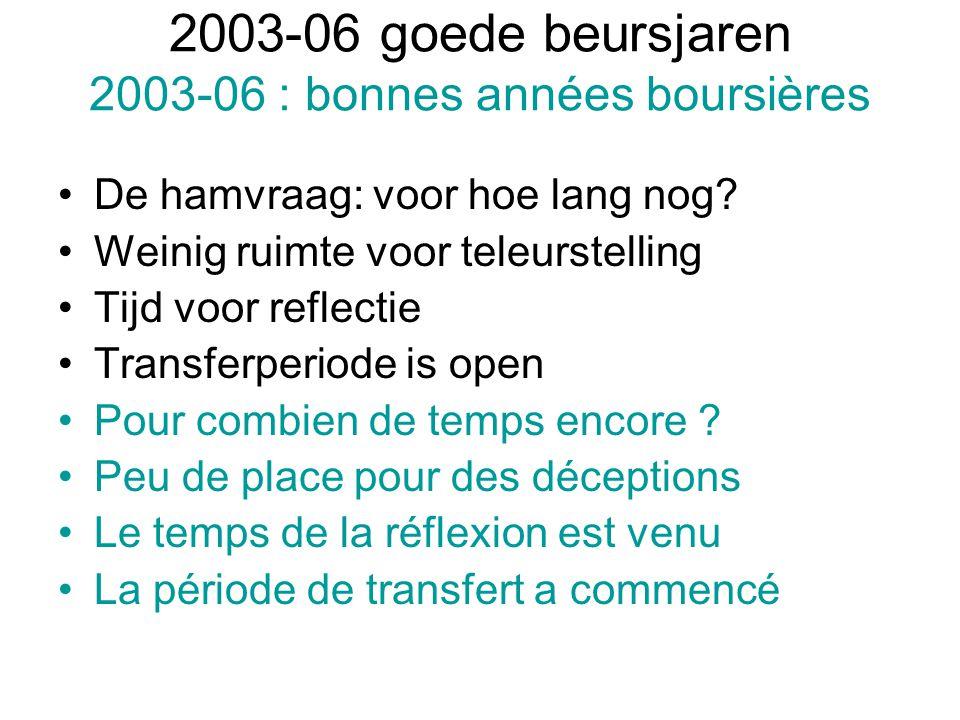 2003-06 goede beursjaren 2003-06 : bonnes années boursières