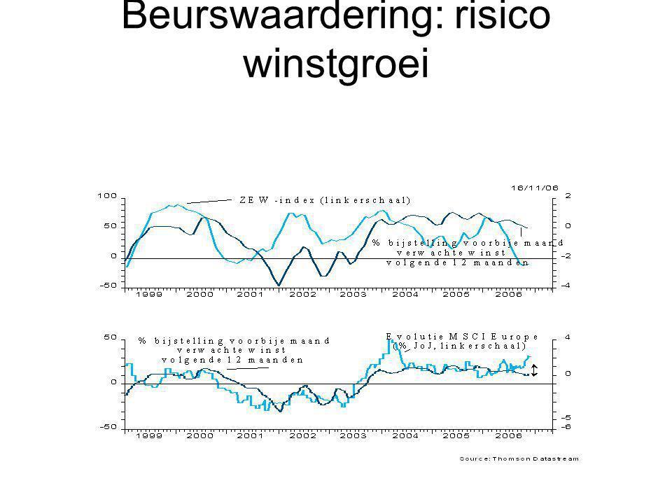 Beurswaardering: risico winstgroei