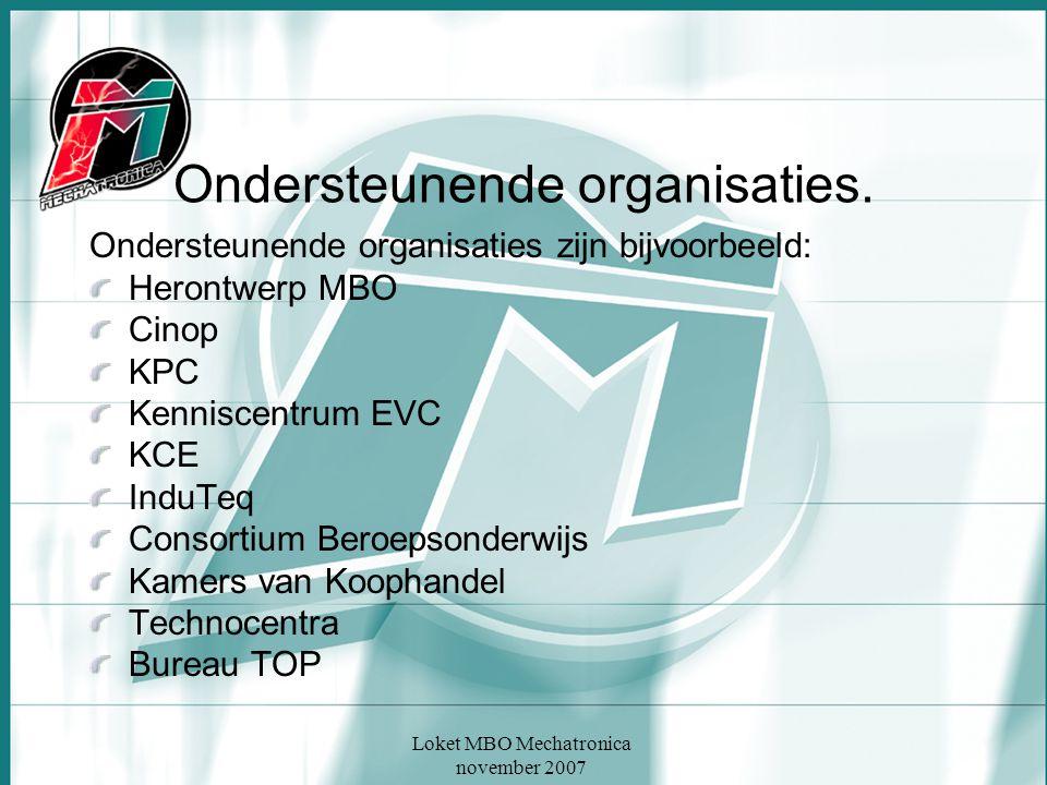 Ondersteunende organisaties.