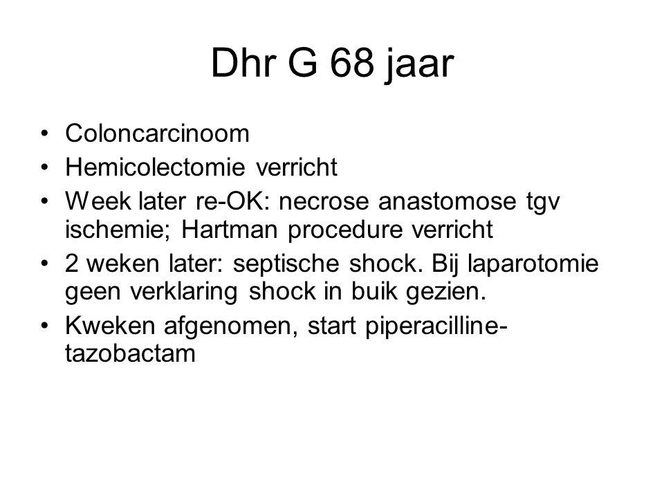Dhr G 68 jaar Coloncarcinoom Hemicolectomie verricht
