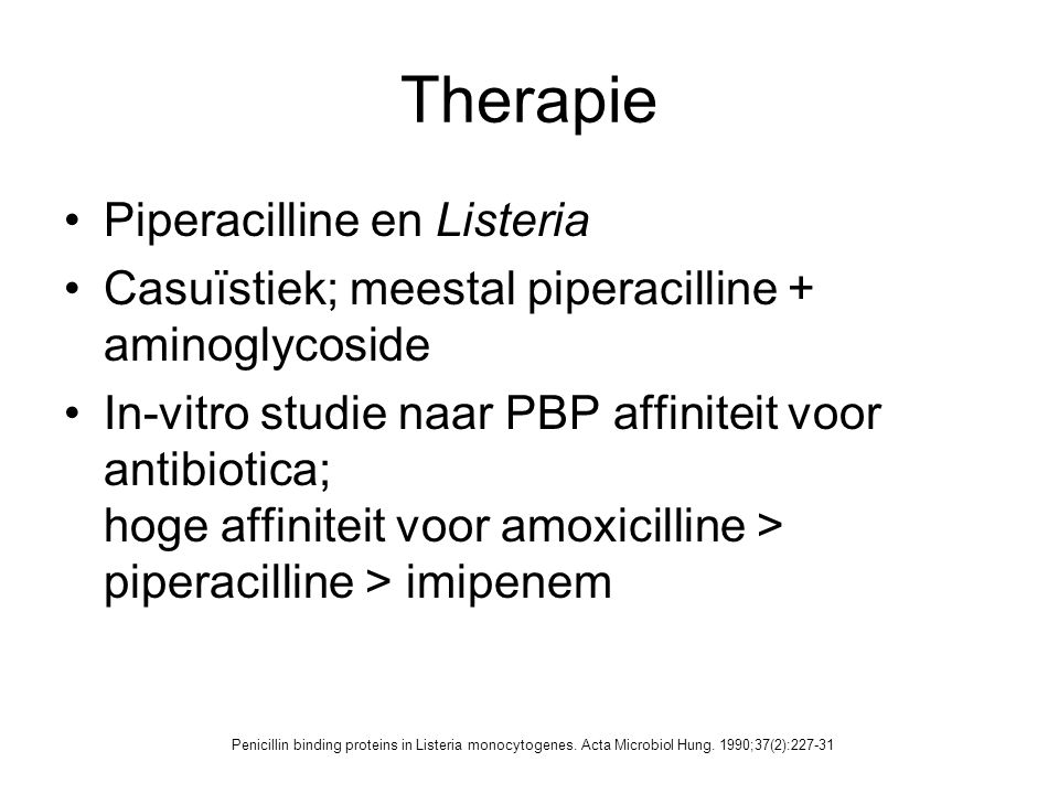 Therapie Piperacilline en Listeria