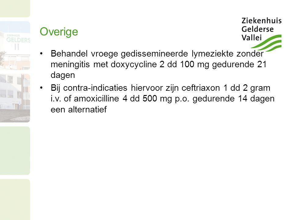 Overige Behandel vroege gedissemineerde lymeziekte zonder meningitis met doxycycline 2 dd 100 mg gedurende 21 dagen.