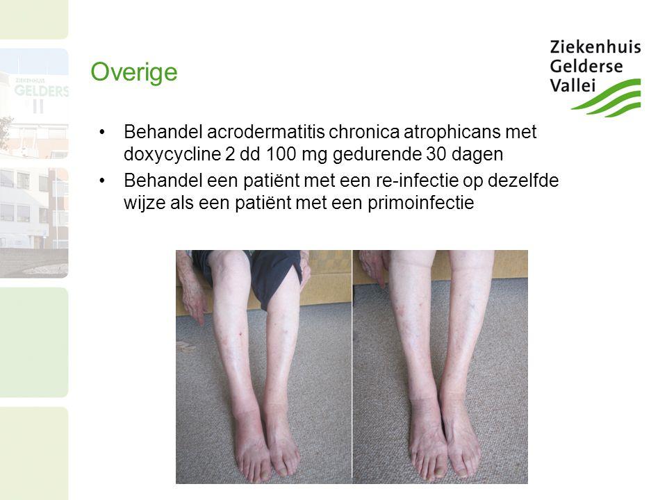 Overige Behandel acrodermatitis chronica atrophicans met doxycycline 2 dd 100 mg gedurende 30 dagen.