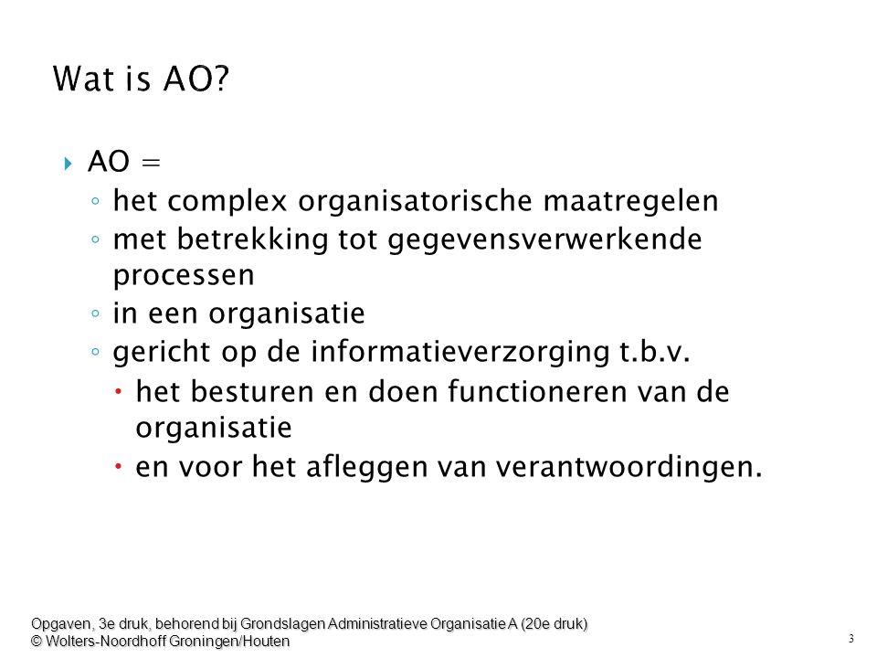 Wat is AO AO = het complex organisatorische maatregelen