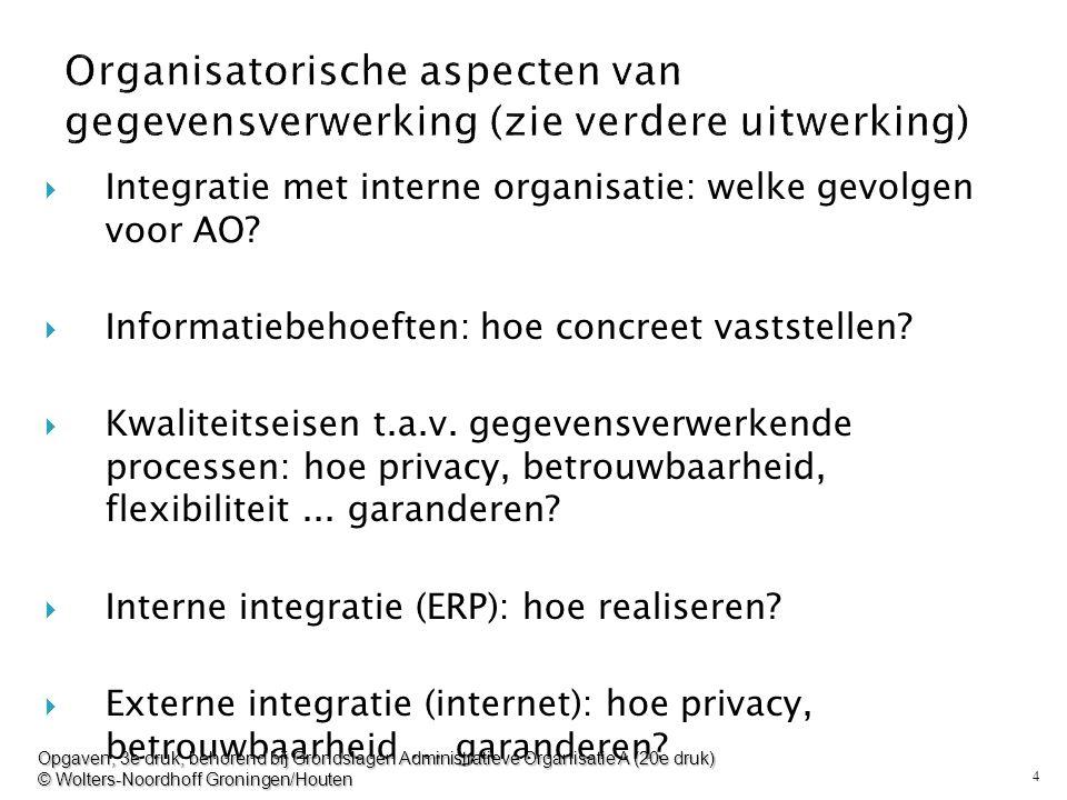 Organisatorische aspecten van gegevensverwerking (zie verdere uitwerking)
