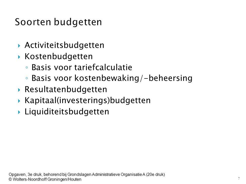 Soorten budgetten Activiteitsbudgetten Kostenbudgetten