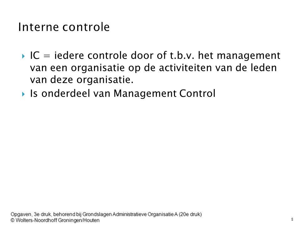 Interne controle IC = iedere controle door of t.b.v. het management van een organisatie op de activiteiten van de leden van deze organisatie.