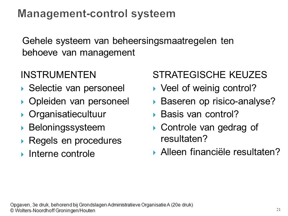 Management-control systeem