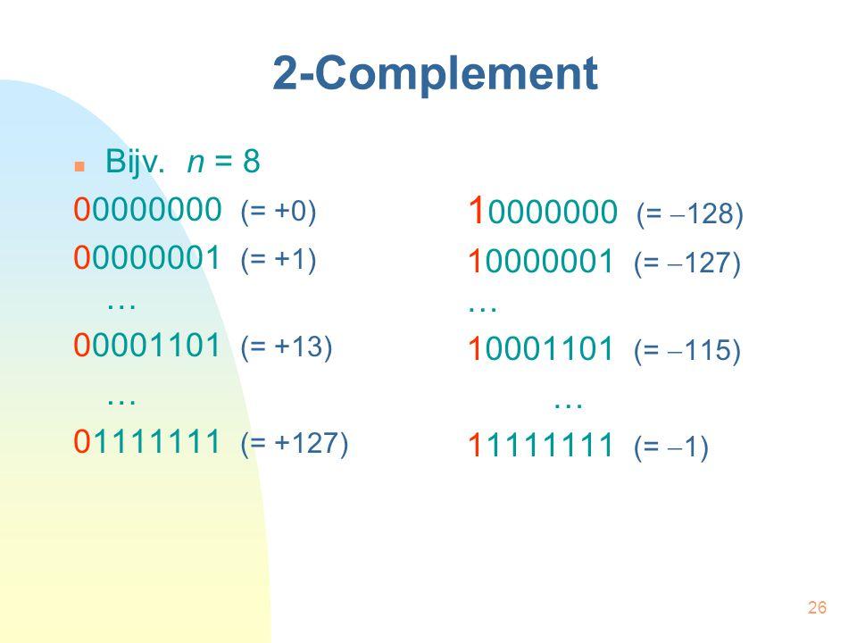 2-Complement 10000000 (= -128) Bijv. n = 8 00000000 (= +0)