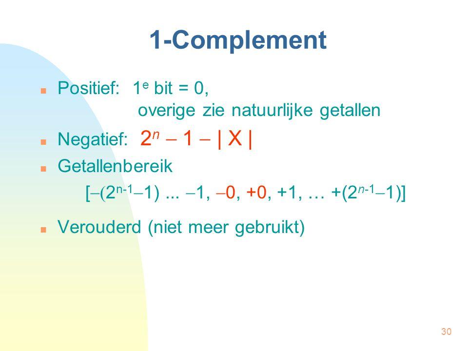 1-Complement Positief: 1e bit = 0, overige zie natuurlijke getallen