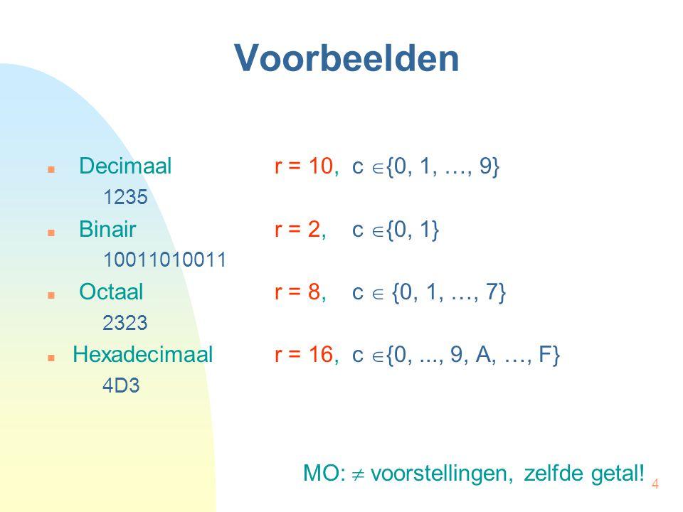 Voorbeelden Decimaal r = 10, c {0, 1, …, 9} Binair r = 2, c {0, 1}