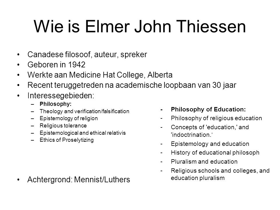 Wie is Elmer John Thiessen