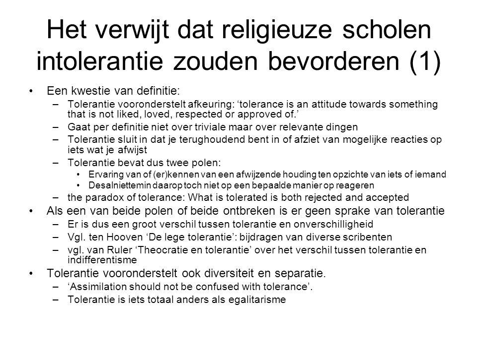 Het verwijt dat religieuze scholen intolerantie zouden bevorderen (1)