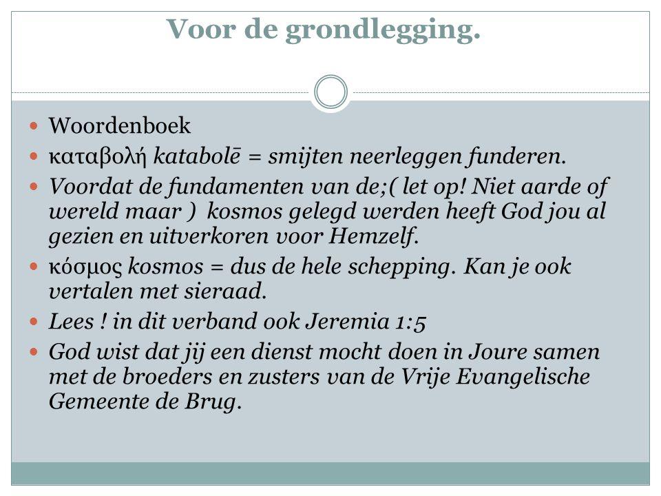 Voor de grondlegging. Woordenboek