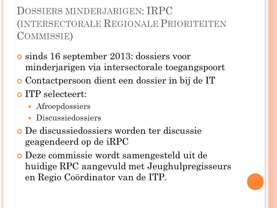 Dossiers minderjarigen: IRPC (intersectorale Regionale Prioriteiten Commissie)