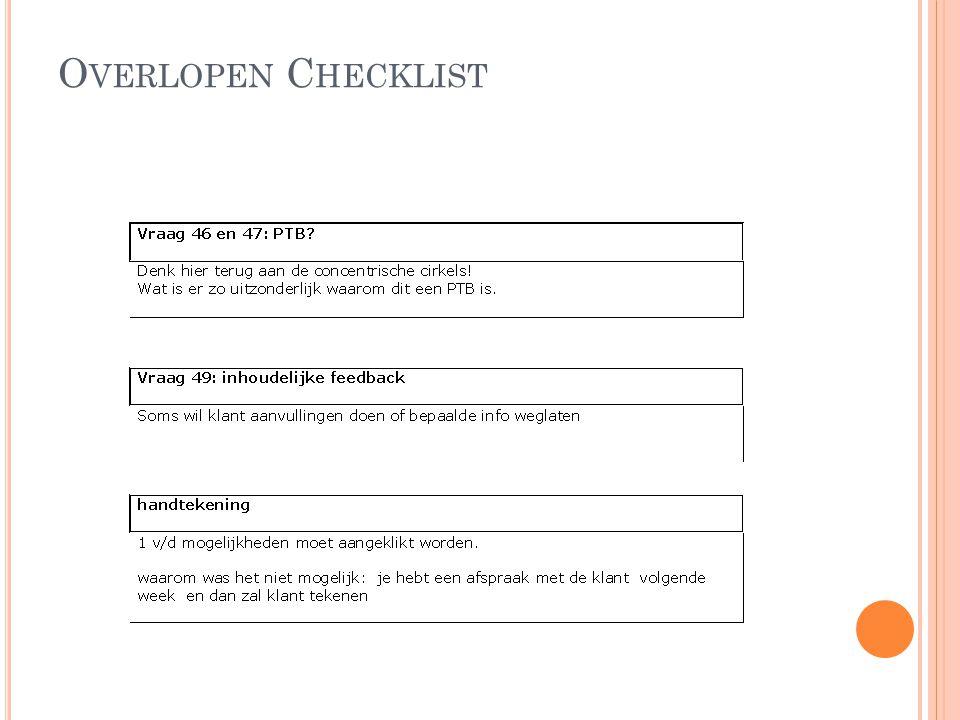 Overlopen Checklist
