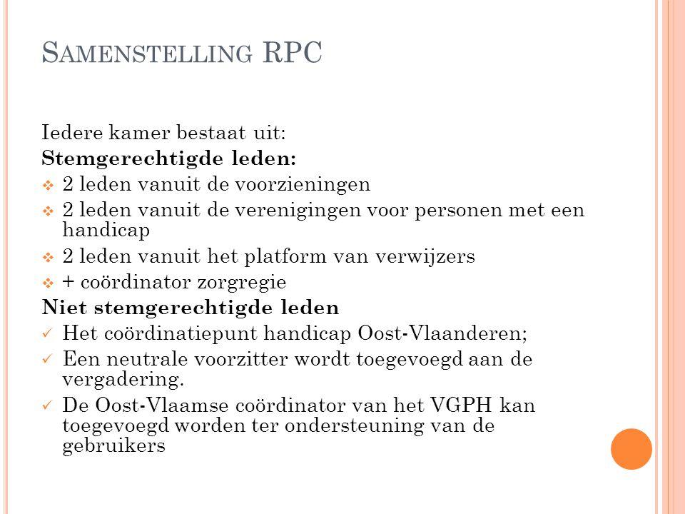 Samenstelling RPC Iedere kamer bestaat uit: Stemgerechtigde leden: