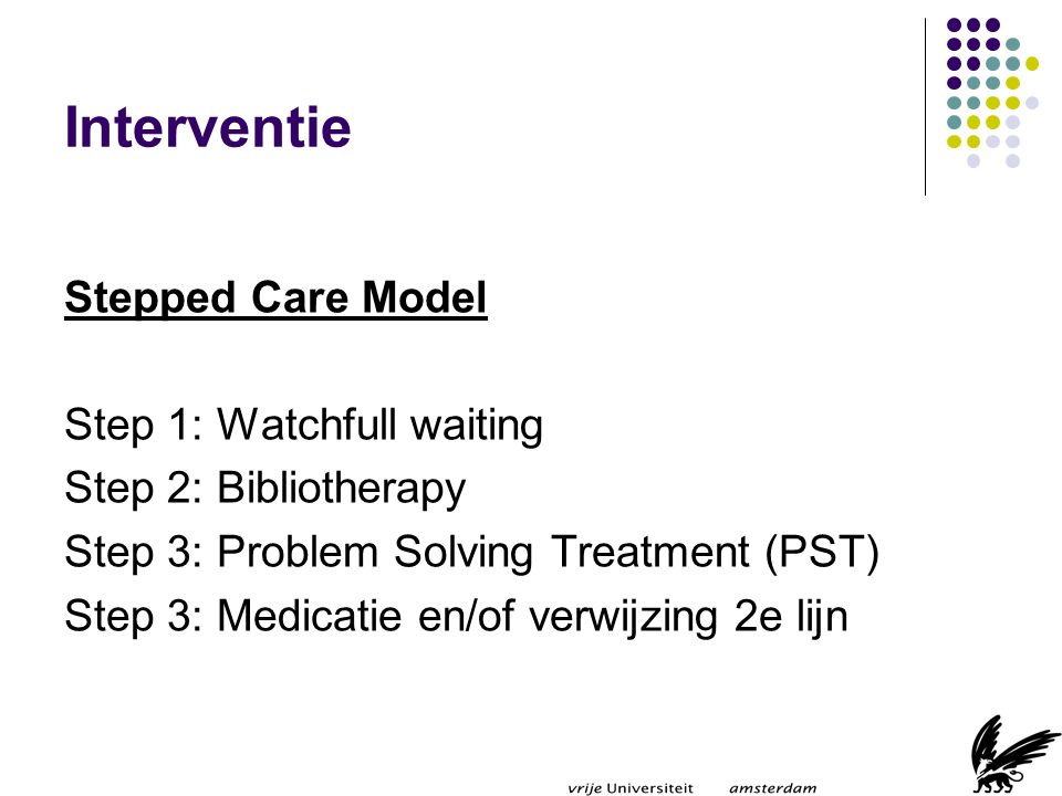 Interventie Stepped Care Model Step 1: Watchfull waiting