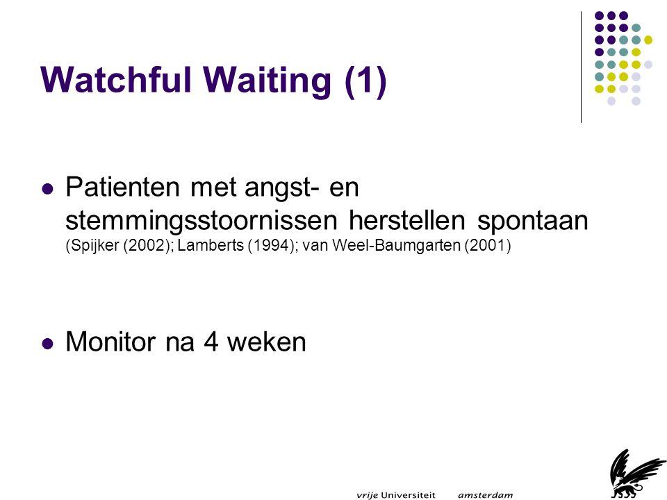 Watchful Waiting (1) Patienten met angst- en stemmingsstoornissen herstellen spontaan (Spijker (2002); Lamberts (1994); van Weel-Baumgarten (2001)
