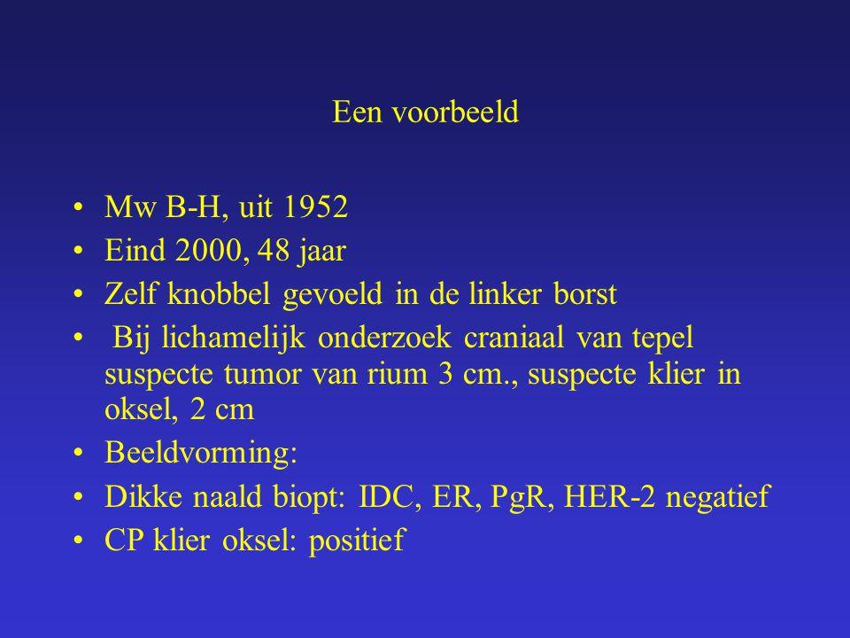 Een voorbeeld Mw B-H, uit 1952. Eind 2000, 48 jaar. Zelf knobbel gevoeld in de linker borst.