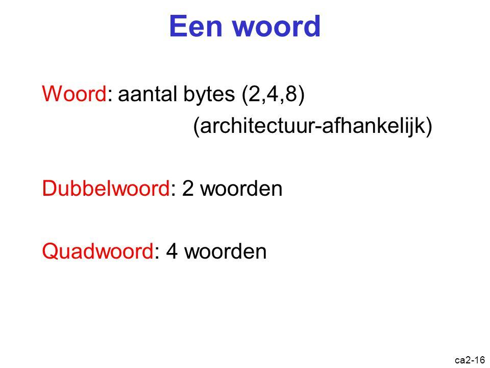 Een woord Woord: aantal bytes (2,4,8) (architectuur-afhankelijk)