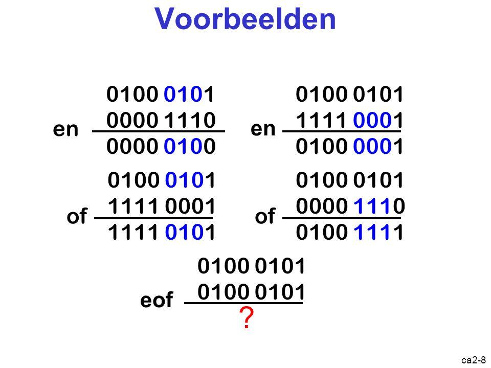 Voorbeelden en. 0100 0101. 0000 1110. 0000 0100. en. 0100 0101. 1111 0001. 0100 0001. of. 0100 0101.