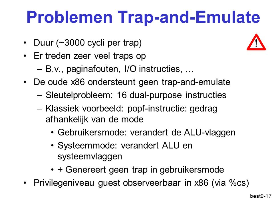 Problemen Trap-and-Emulate