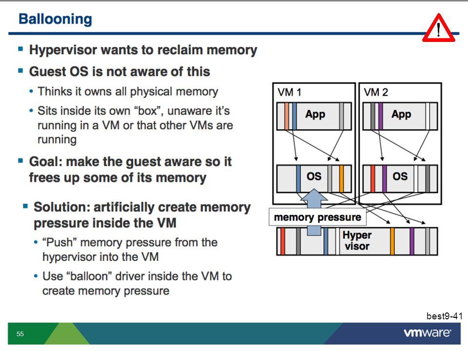 De VMM is verantwoordelijk voor het verdelen van de totale hoeveelheid machinegeheugen over de verschillende virtuele machines. Het besturingssysteem dat in een VM draait zal dit geheugen dan op zijn beurt verdelen over de verschillende processen en het besturingssysteem zelf. Het besturingssysteem gaat er echter vanuit dat het toegang heeft tot alle geheugen van de onderliggende machine en zal zoveel mogelijk van dat geheugen proberen gebruiken om de processen zo efficiënt mogelijk te laten uitvoeren, om bestandscaches te ondersteunen, enz. Zo zal het voorkomen dat de gezamenlijke aanvragen voor machinegeheugen door de verschillende virtuele machines de totale hoeveelheid machinegeheugen overtreffen. De VMM kan uiteraard secundair geheugen gebruiken om op het VMM-niveau virtueel geheugen aan te bieden, maar dat is bijzonder inefficiënt. Beter is het om het Guest OS te verplichten om zijn werklast uit te voeren met minder machinegeheugen. Probleem is echter dat het Guest OS niet weet dat het in een VM draait, en dat we het Guest OS dus ook niet kunnen vragen om zijn geheugenconsumptie te beperken. Een elegante oplossing om toch dit effect te bereiken is om een zgn balloondriver te installeren in het Guest OS. Deze balloondriver wordt aangestuurd door de VMM en alloceert/dealloceert op commando van de VMM blokken geheugen.