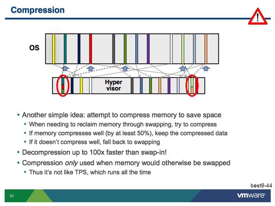 Nog een andere techniek is om machineframes niet uit te pagineren, maar om ze te comprimeren. Comprimeren en decomprimeren gaat sneller dan uit- en inpagineren.
