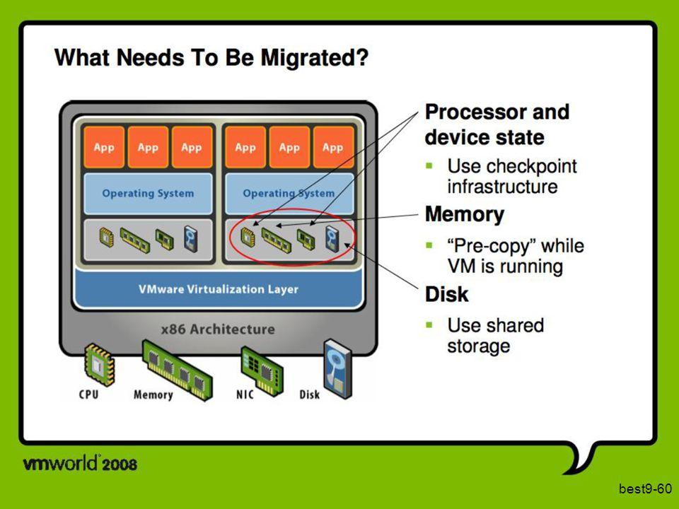 Om een VM te migreren, moeten we haar toestand vastleggen en overbrengen naar een andere machine. Die toestand bestaat uit de toestand van de processor en van de randapparaten, de toestand van het geheugen, en de toestand van de secundaire opslag. Voor de secundaire opslag veronderstellen we dat deze gedeeld wordt door de twee computersystemen zodat deze niet moet gekopieerd worden. Het kopiëren van een schijf zou sowieso heel lang duren. De grootste overblijvende opdracht is het migreren van de toestand van het geheugen.