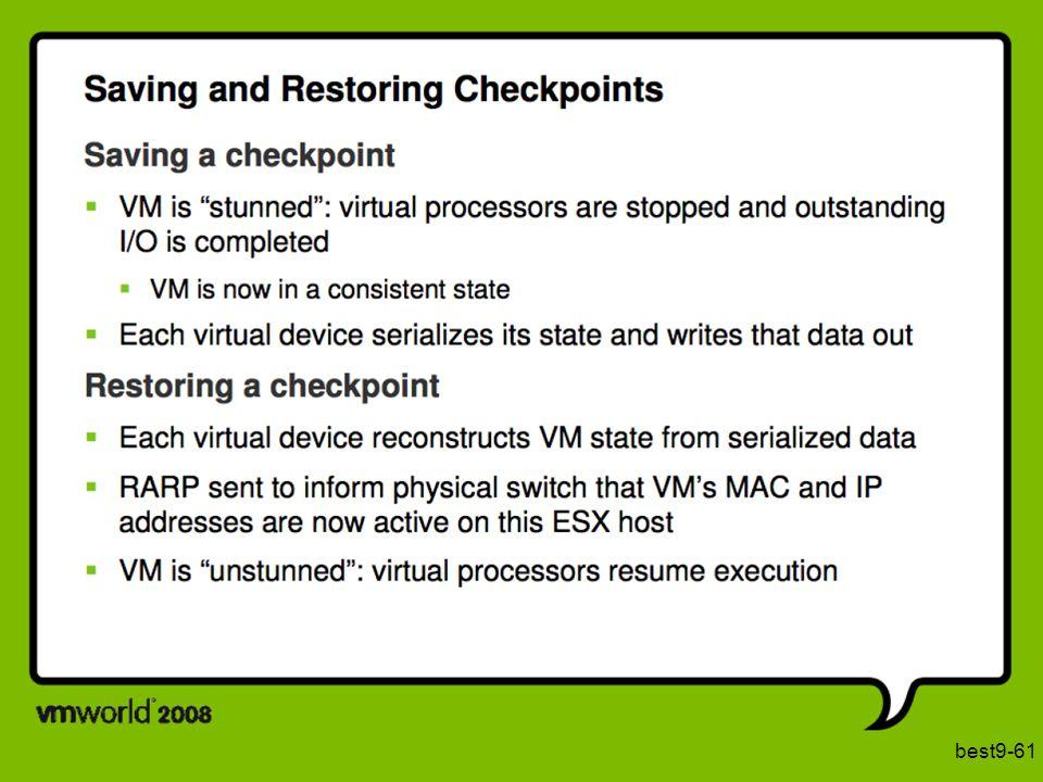 Een naïeve manier om een VM te migreren is het maken van een zgn checkpoint, en dit checkpoint te herstellen op een andere machine. Het maken van een checkpoint veronderstelt dat de VM eerst gestopt wordt in een consistente toestand en dat deze toestand bewaard wordt. Op de bestemming worden alle componenten terug in de juiste toestand gebracht, en kan de werking verdergezet worden.