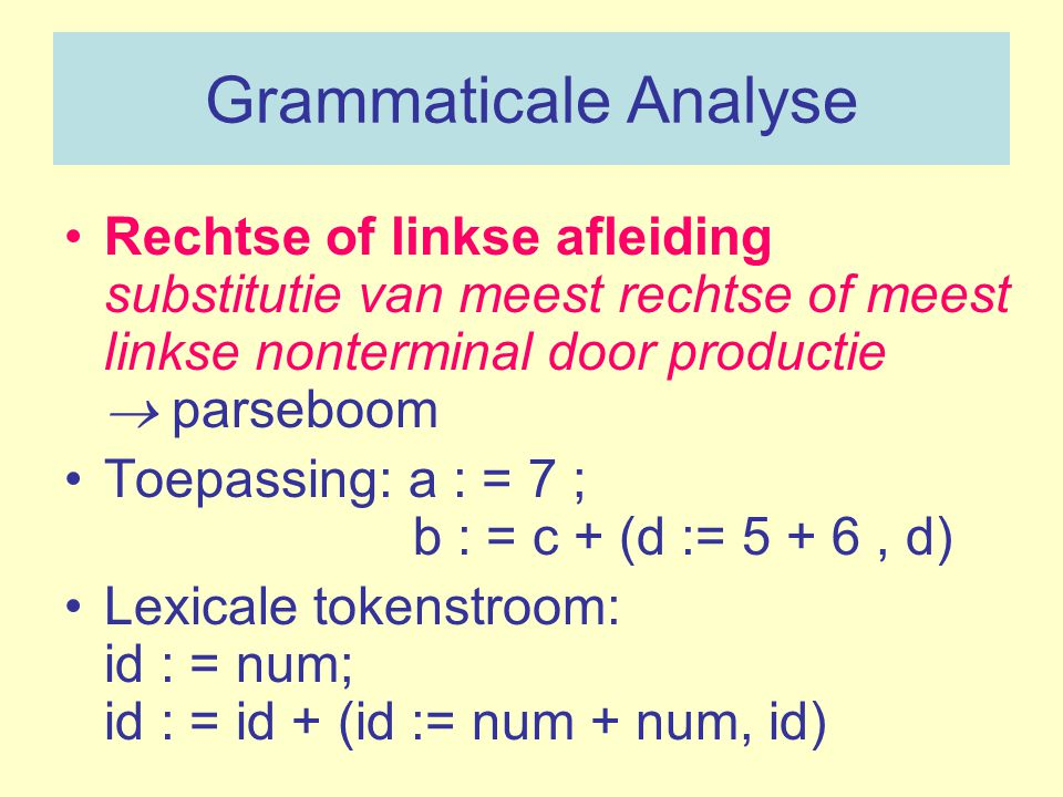 Grammaticale Analyse Rechtse of linkse afleiding substitutie van meest rechtse of meest linkse nonterminal door productie  parseboom.