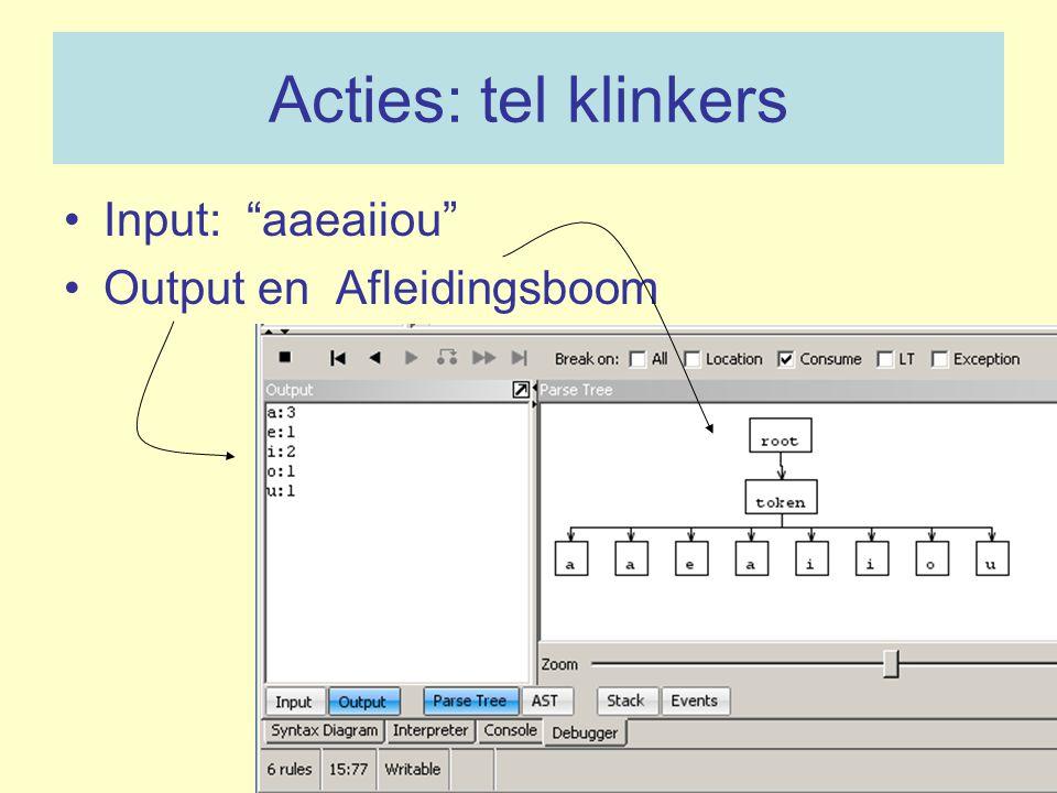 Acties: tel klinkers Input: aaeaiiou Output en Afleidingsboom