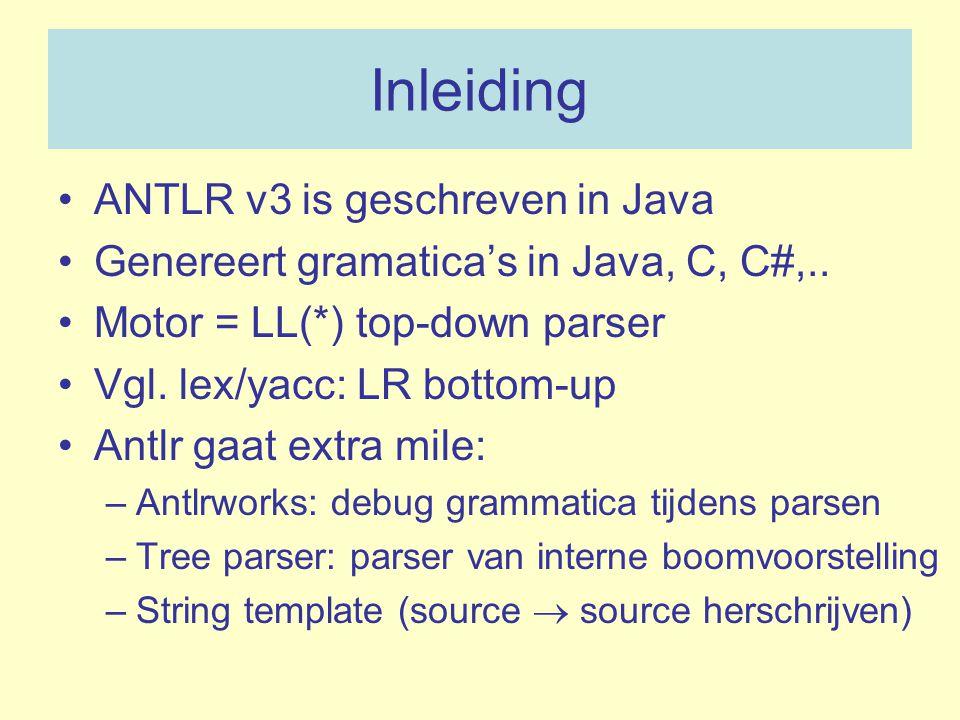 Inleiding ANTLR v3 is geschreven in Java