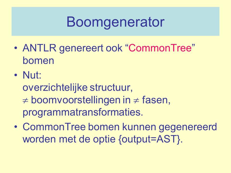 Boomgenerator ANTLR genereert ook CommonTree bomen