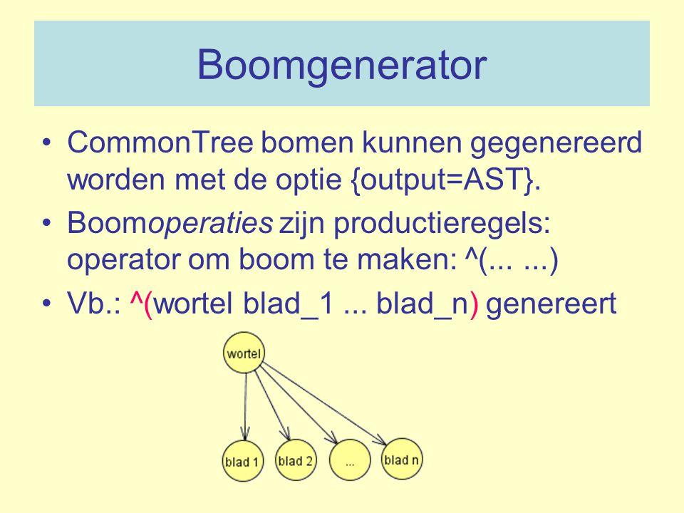 Boomgenerator CommonTree bomen kunnen gegenereerd worden met de optie {output=AST}.