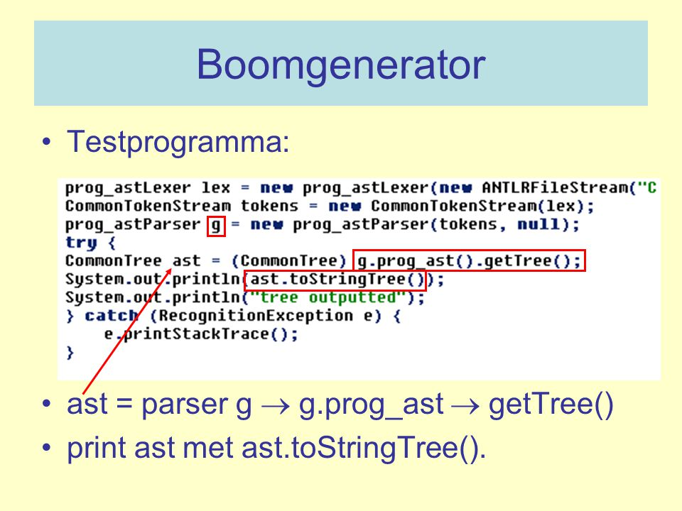 Boomgenerator Testprogramma: ast = parser g  g.prog_ast  getTree()