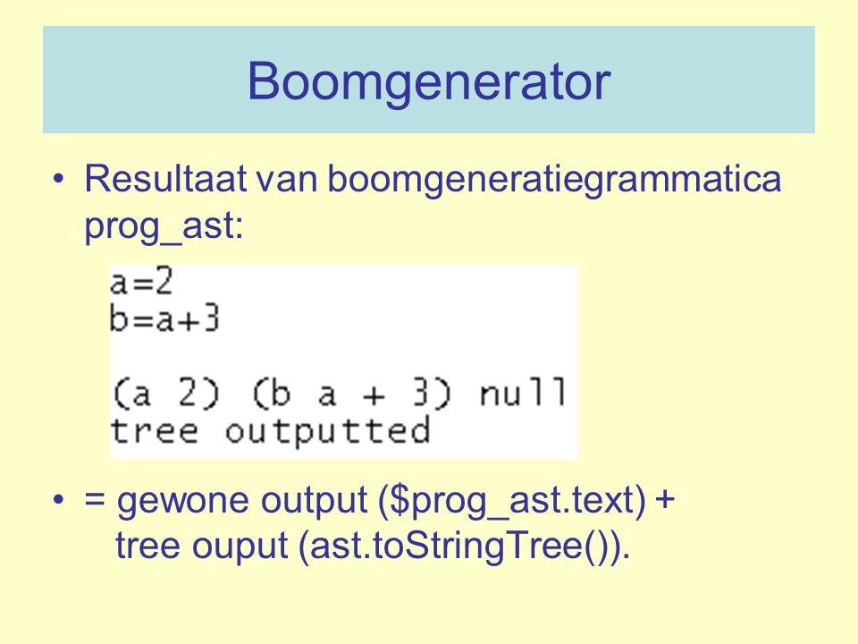 Boomgenerator Resultaat van boomgeneratiegrammatica prog_ast: