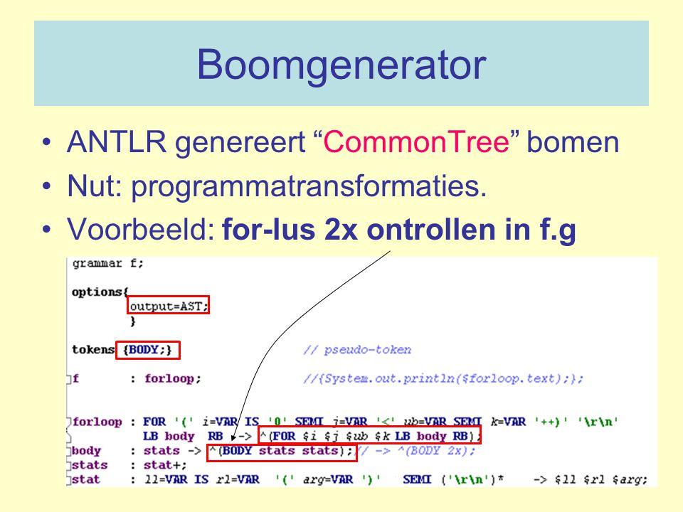 Boomgenerator ANTLR genereert CommonTree bomen