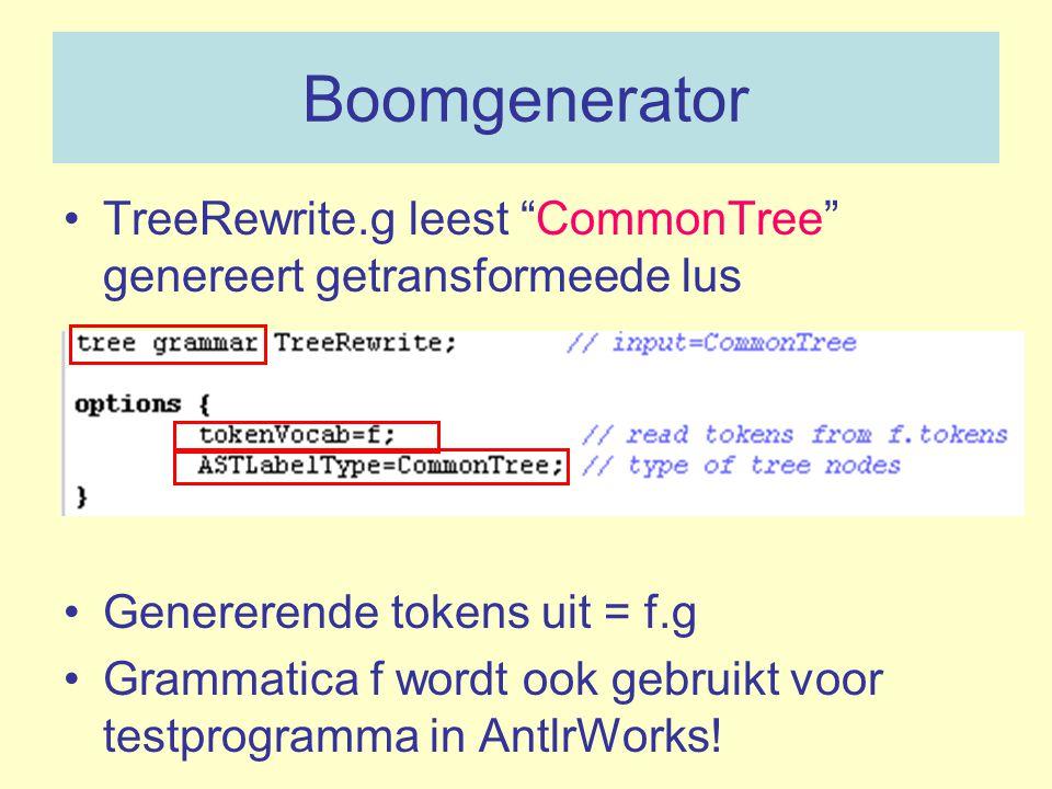 Boomgenerator TreeRewrite.g leest CommonTree genereert getransformeede lus. Genererende tokens uit = f.g.